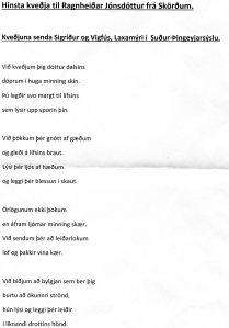 Kveðja frá Laxamýri við útför Ragnheiðar Jónsdóttur