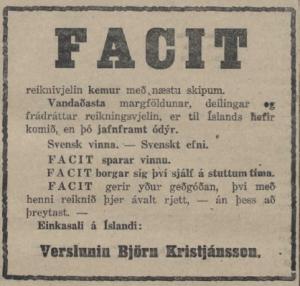 Facit auglýsing 1926
